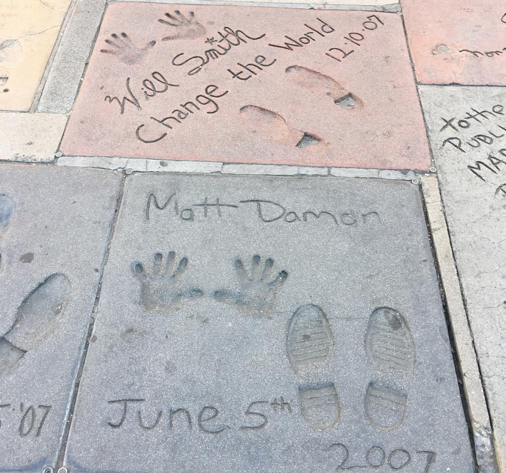 <p>There are so many prints to explore outside Grauman's Chinese Theatre. See everyone from Ava Gardner to Will Smith and Matt Damon.<br /> The idea to immortilise movie celebrity hand and foot prints came to Grauman by accident when he accidentally stepped in some soft concrete. The first star he got to do it was Norma Talmadge, followed by Douglas Fairbanks, and there are now more that 200 for you to look at outside the theatre. </p>