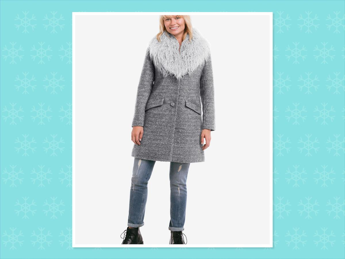"<p>Tweed faux fur coat, $120, <a rel=""nofollow"" href=""http://www.ellos.us/clothing/Tweed-Faux-Fur-Coat.aspx?PfId=563343&DeptId=30779&ProductTypeId=1&ppos=4&Splt=0"">Ellos</a> (Photo: Ellos) </p>"
