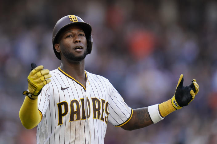 San Diego Padres' Jurickson Profar reacts after lining out during the ninth inning of a baseball game against the San Francisco Giants, Thursday, Sept. 23, 2021, in San Diego. (AP Photo/Gregory Bull)
