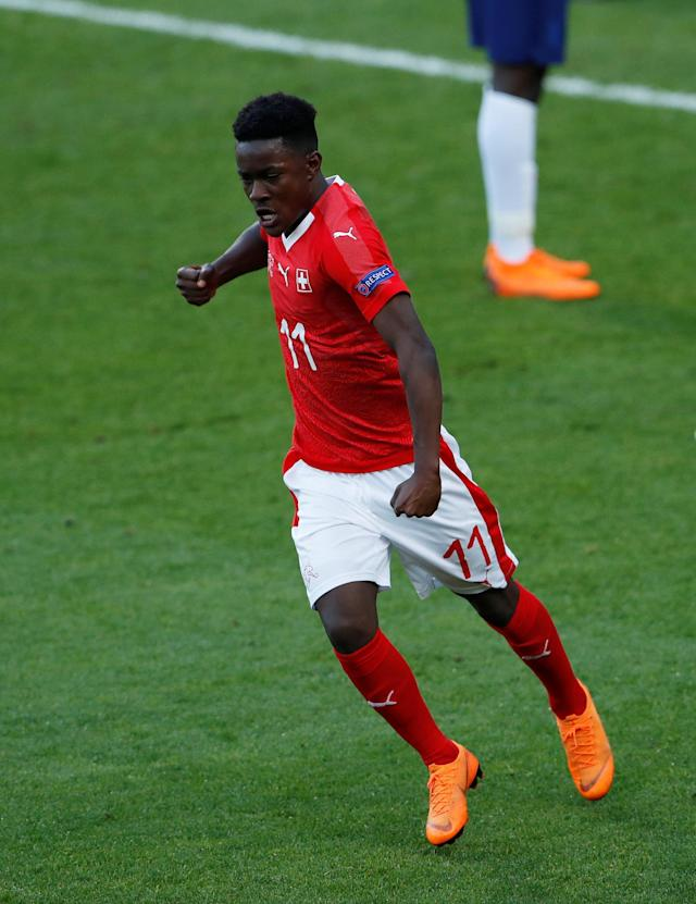 Soccer Football - UEFA European Under-17 Championship - Group A - Switzerland v England - AESSEAL New York Stadium, Rotherham, Britain - May 10, 2018 Switzerland's Felix Mambimbi celebrates scoring their first goal Action Images via Reuters/Lee Smith