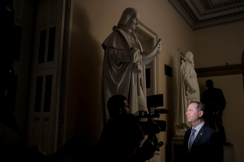 House Democrats' lead impeachment manager Rep. Adam Schiff speaks to a reporter before the Senate trial vote at the Capitol in Washington, D.C., on Feb. 5, 2020. | Gabriella Demczuk for TIME