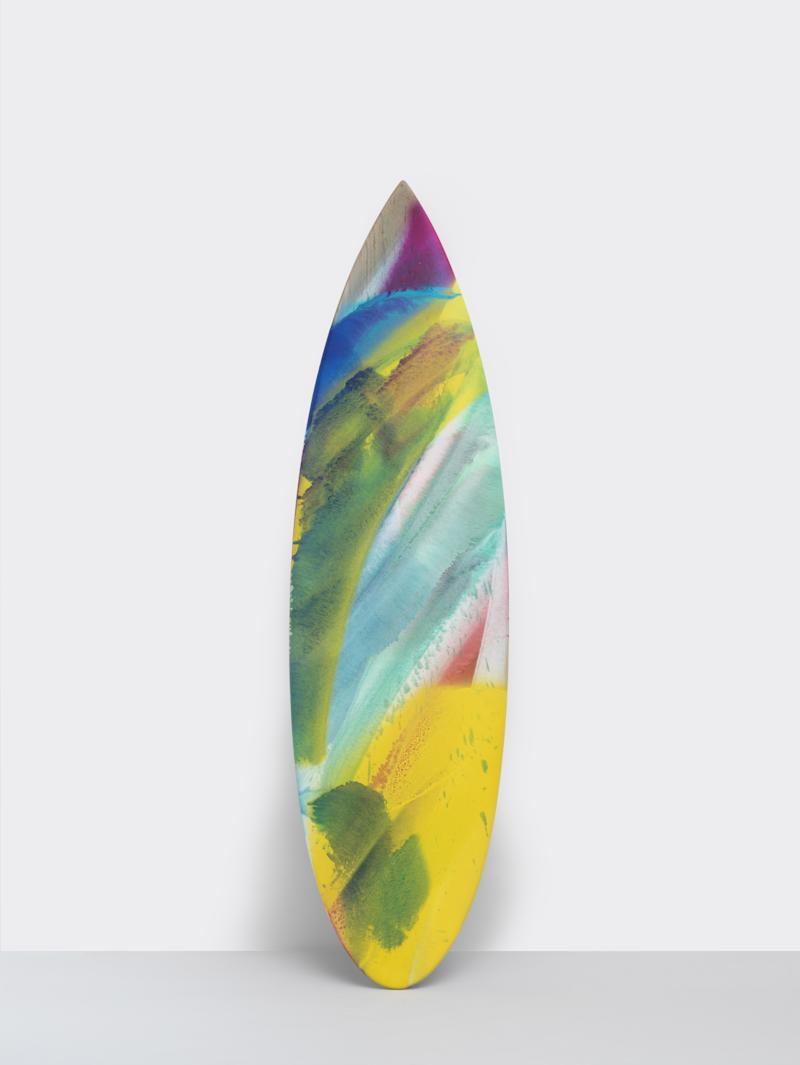 Katharina Grosse colorless with a hint of blue surfboard, 2019. Signed on verso, produced by Parley. $50,000. gagosianshop.com
