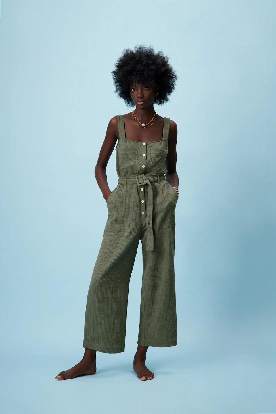 <p>Style this <span>Long Textured Jumpsuit</span> ($50) with some slide sandals for an easygoing look.</p>