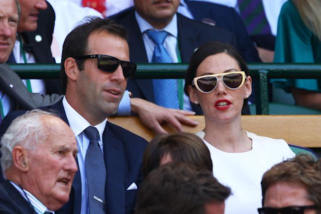 LONDON, ENGLAND - JULY 07: Greg Rusedski and Lucy Rusedski attend the Gentlemen's Singles Final match between Andy Murray of Great Britain and Novak Djokovic of Serbia on day thirteen of the Wimbledon Lawn Tennis Championships at the All England Lawn Tennis and Croquet Club on July 7, 2013 in London, England. (Photo by Clive Brunskill/Getty Images)