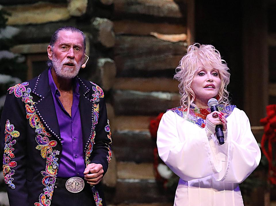 Randy and Dolly Parton in 2018 (Rex Features)