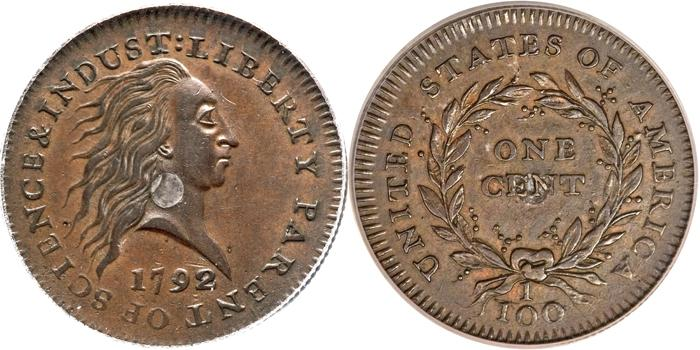 This photo combination made with images provided by Heritage Auctions shows the front and back of a copper and silver 1792 experimental penny that sold at auction in Schaumburg, Ill. on Thursday, April 19, 2012. Officials with Heritage Auctions say Kevin Lipton of Beverly Hills, Calif., bought the penny on behalf of a group of unnamed investors for $1 million and must also pay the auction house's 15 percent commission. It was never actually put into circulation and only 14 examples of the coin are known to exist. (AP Photo/Heritage Auctions)