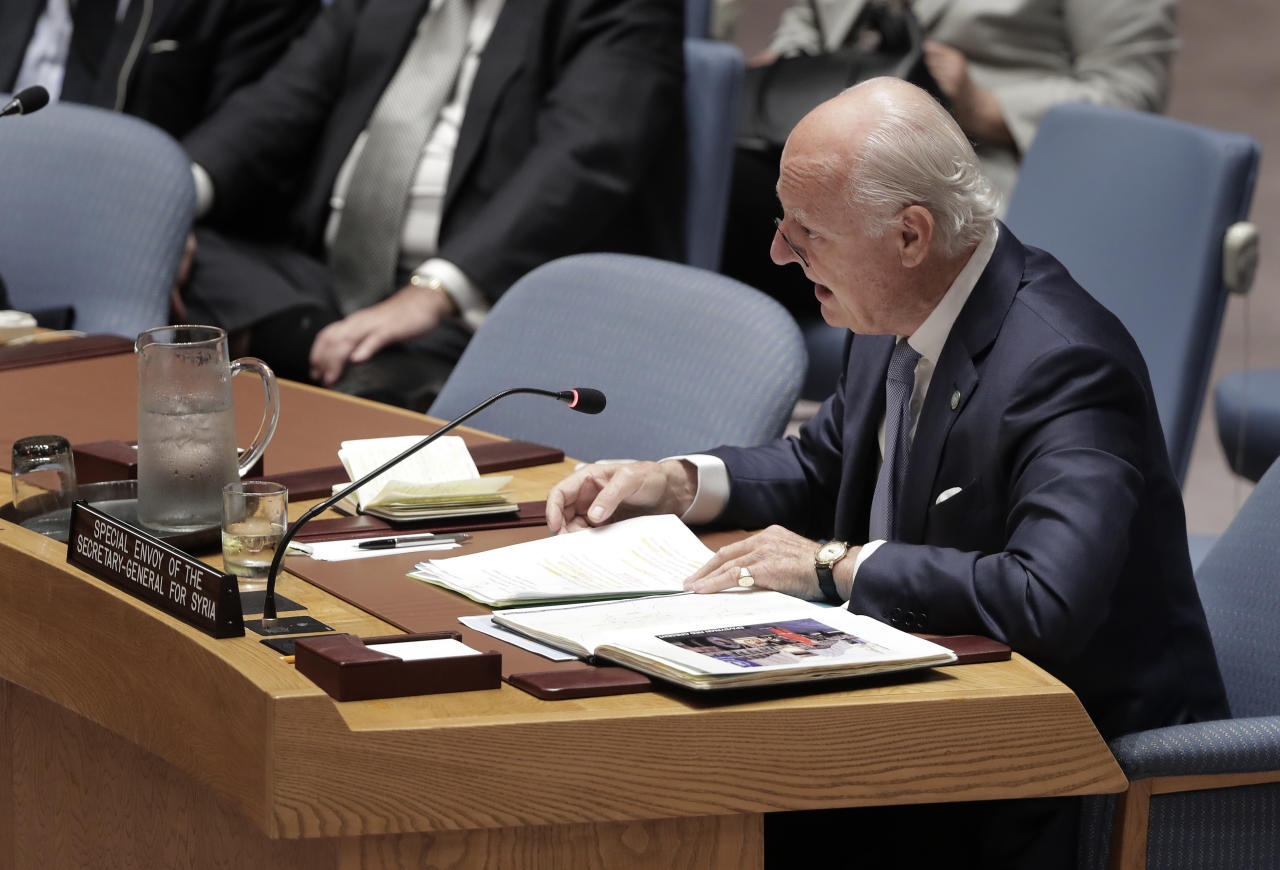 <p> Staffan de Mistura, UN Special Envoy for Syria, speaks during a Security Council meeting, Wednesday, Sept. 21, 2016, at U.N. headquarters. (AP Photo/Julie Jacobson) </p>