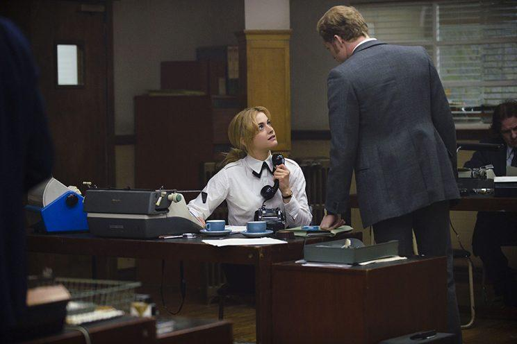 Stefanie Martini as Jane Tennison and Sam Reid as DI Bradfield in PBS's Prime Suspect: Tennison. (Photo Credit: ITV Studios/NoHo Film & Television)