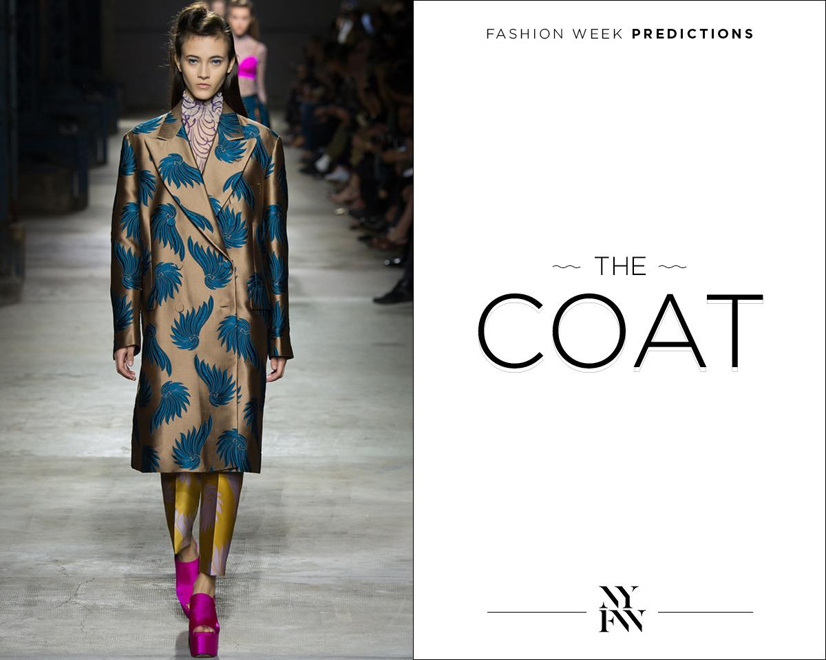 "<p>February is all about the It coat in NYC — the weather is so unpredictable, getting the right outerwear is crucial. </p><p><b><a href=""http://www.driesvannoten.be/#"">Dries Van Noten</a> </b>Spring Coat<br /></p>"
