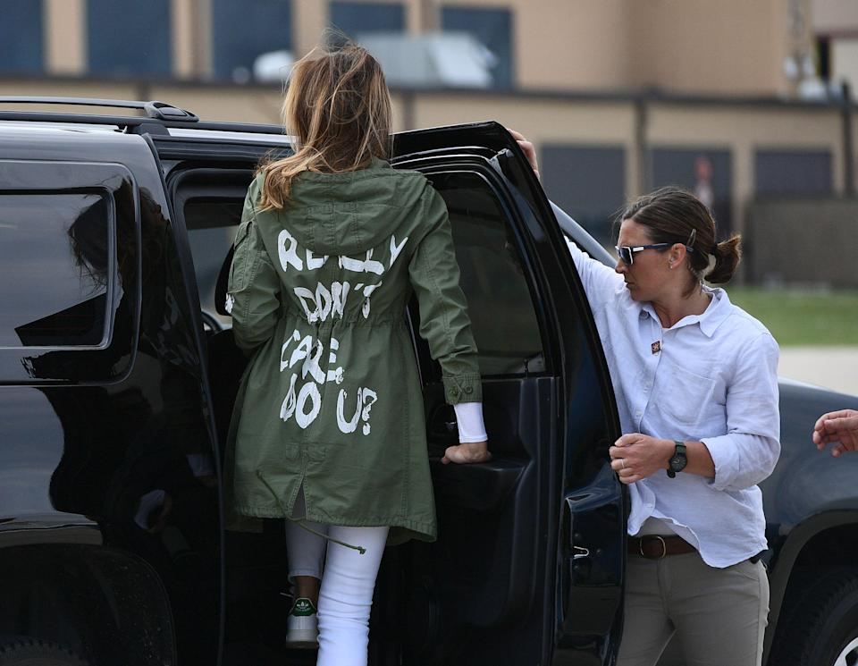 """First Lady Melania Trump departs Andrews Air Force Base in Maryland June 21, 2018, wearing a jacket emblazoned with the words """"I really don't care, do you?"""" This week, she backtracked on a previous claim that the jacket had no hidden message, saying it was meant for the """"left-wing media."""" (Photo: Mandel Ngan/AFP)"""