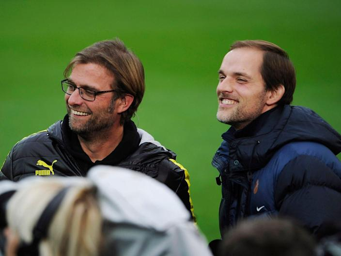 <p>Jurgen Klopp during his time at Dortmund against Thomas Tuchel and Mainz</p> (Getty)