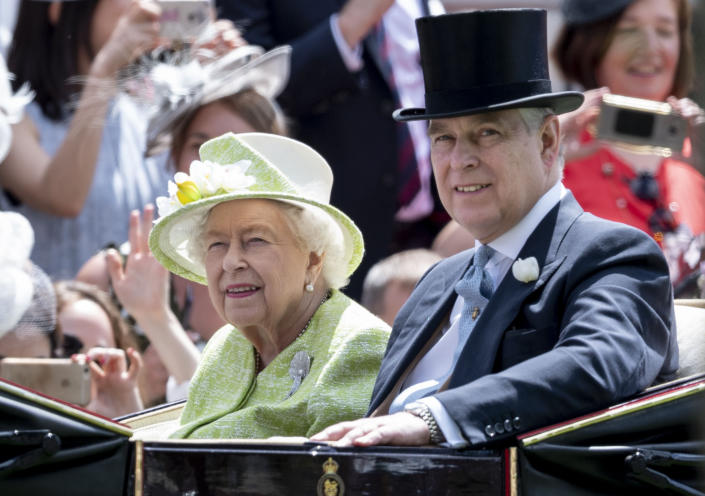 The Queen and Prince Andrew at Ascot Racecourse. (Ascot, Berkshire, England, UK)