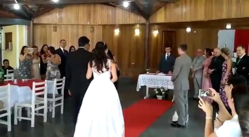 The awkward moment a bride walked down the aisle to sex noises has been revealed. Photo: Australscope