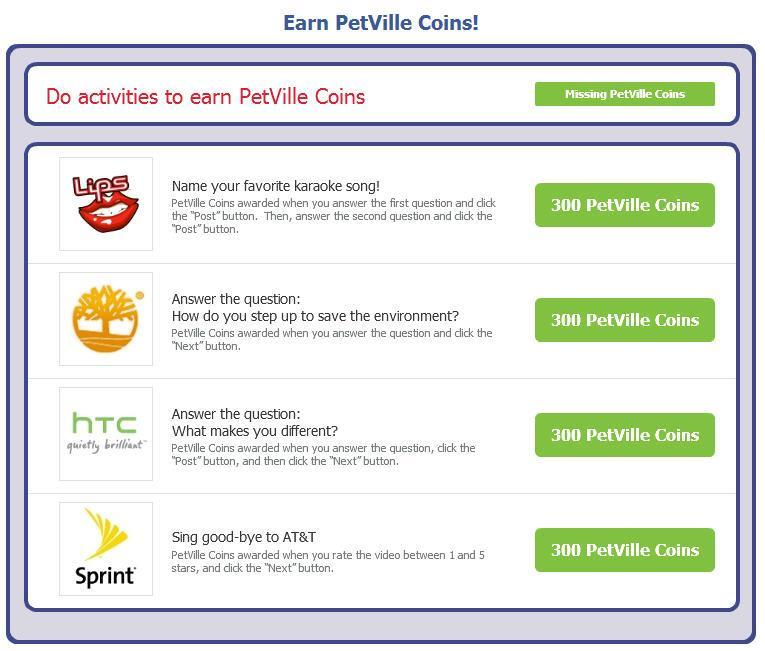 zynga offers reinstated in PetVille and other zynga games