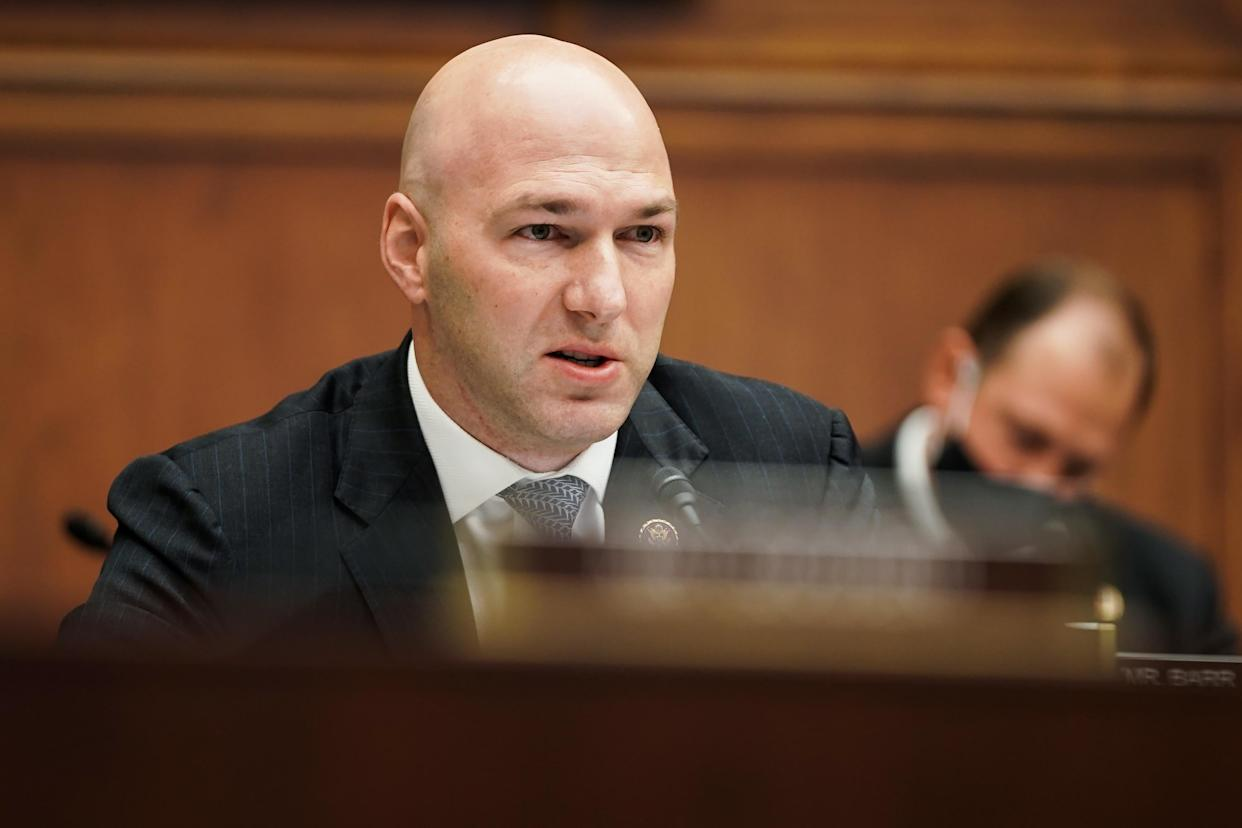 Representative Anthony Gonzalez, a Republican frrom Ohio, speaks during a House Financial Services Committee hearing in Washington, D.C., U.S., on Wednesday, Dec. 2 2020. (Greg Nash/The Hill/Bloomberg via Getty Images)