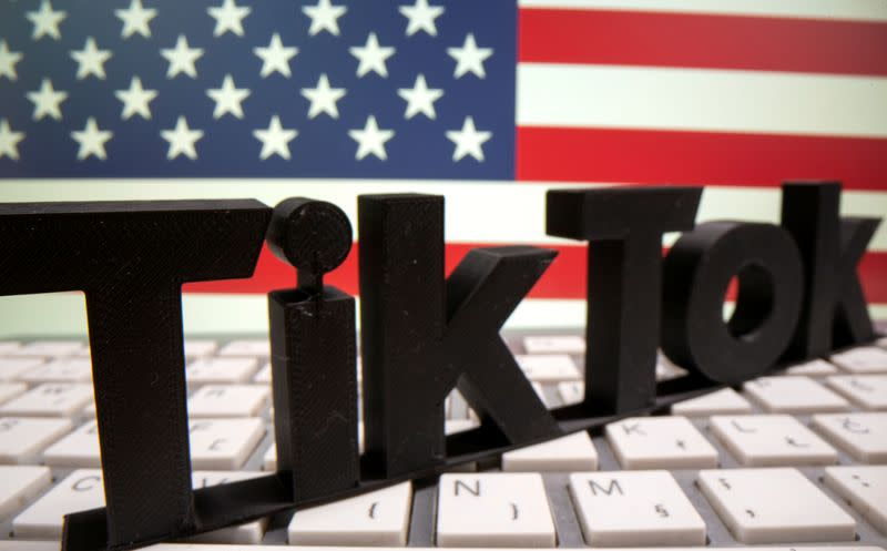 FILE PHOTO: A 3D printed Tik Tok logo is placed on a keyboard in front of U.S. flag in this illustration