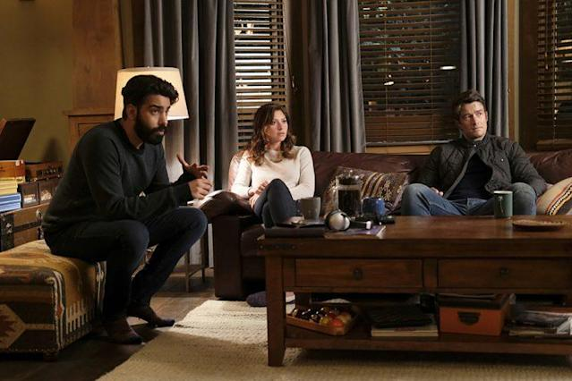 Rahul Kohli as Ravi, Aly Michalka as Peyton, and Robert Buckley as Major in The CW's 'iZombie' (Photo Credit: Robert Falconer/The CW)