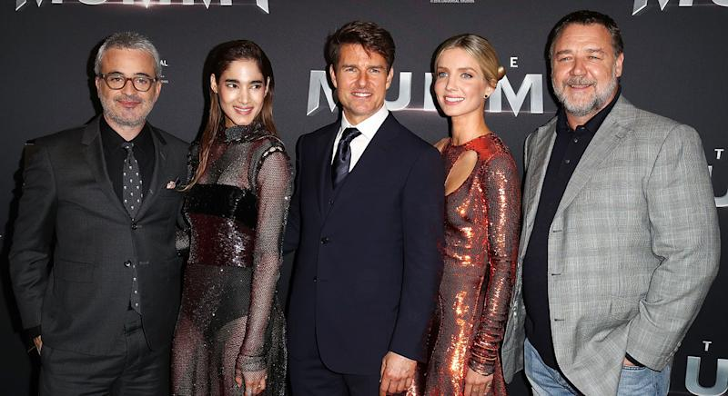 (L-R) Alex Kurtzman, Sofia Boutella, Tom Cruise, Annabelle Wallis and Russell Crowe arrive ahead of The Mummy Australian Premiere (Brendon Thorne/Getty Images)