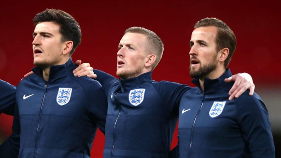 Maguire, Pickford e Kane | Chloe Knott - Danehouse/Getty Images