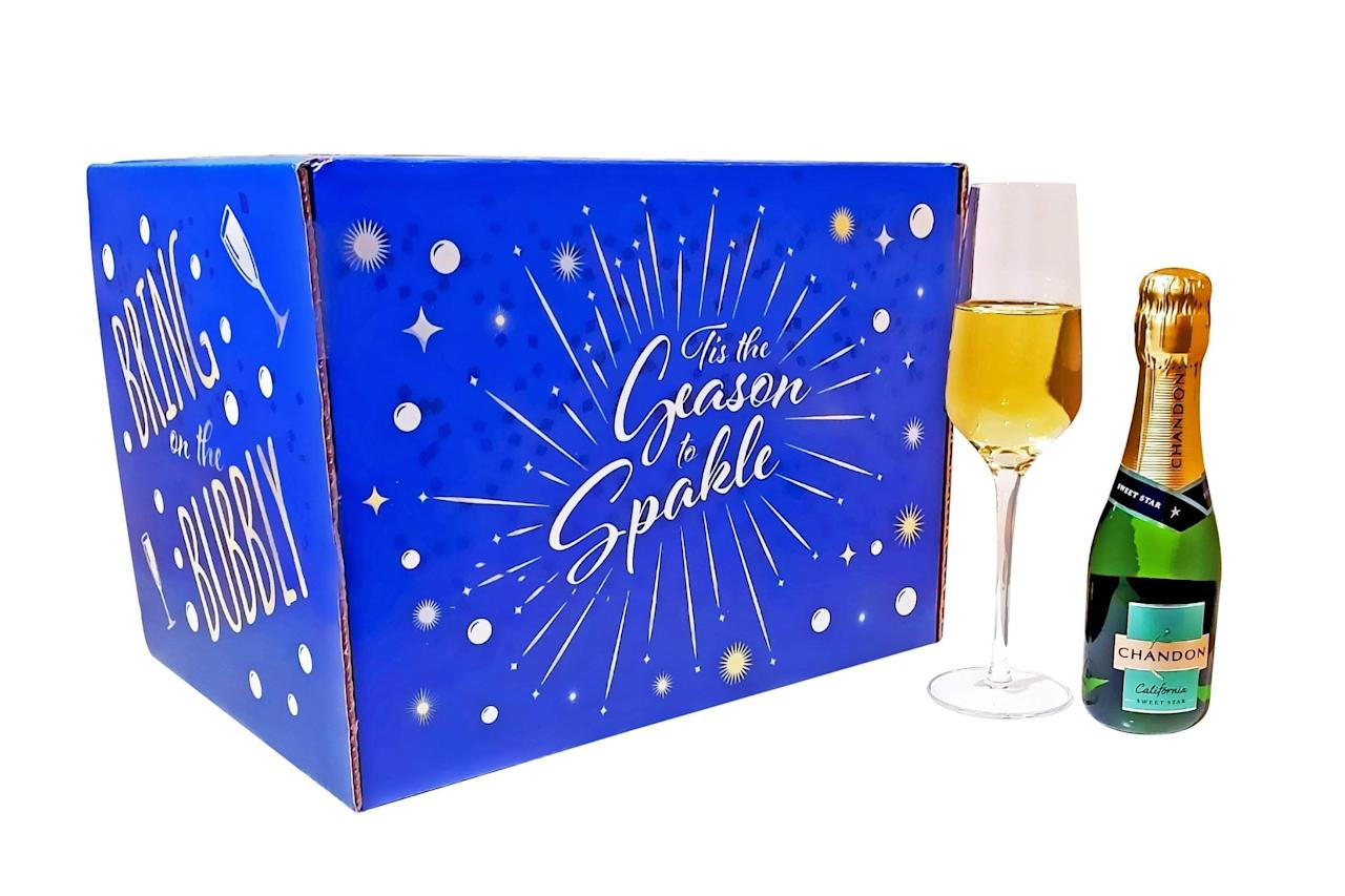 "<p>What better time for bubbly than the holiday season? Pick up a <a href=""https://www.popsugar.com/buy/Sparkling-Wine-Advent-Calendar-519321?p_name=Sparkling%20Wine%20Advent%20Calendar&retailer=givethembeer.com&pid=519321&price=119&evar1=yum%3Aus&evar9=44097279&evar98=https%3A%2F%2Fwww.popsugar.com%2Fphoto-gallery%2F44097279%2Fimage%2F44097375%2FSparkling-Wine-Advent-Calendar&list1=holiday%2Calcohol%2Cchristmas%2Cfood%20shopping%2Choliday%20food&prop13=api&pdata=1"" rel=""nofollow"" data-shoppable-link=""1"" target=""_blank"" class=""ga-track"" data-ga-category=""Related"" data-ga-label=""https://www.givethembeer.com/products/sparkling-wine-advent-calendar"" data-ga-action=""In-Line Links"">Sparkling Wine Advent Calendar</a> ($119) for 12 bottles to perk up your December. </p>"