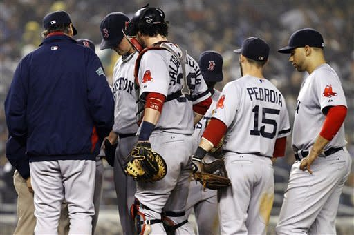 Boston Red Sox players, pitching coach and trainer gather around starting pitcher Jon Lester, second from left, in the fifth inning of a baseball game against the New York Yankees at Yankee Stadium in New York, Tuesday, Oct. 2, 2012. (AP Photo/Kathy Willens)