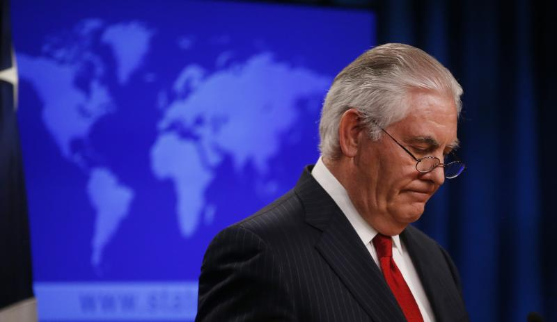 U.S. Secretary of State Rex Tillerson speaks to the media at the U.S. State Department after being fired by President Donald Trump in Washington