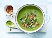 """We make this vibrant green soup on repeat. There's something about the combination of <a href=""""https://www.epicurious.com/ingredients/broccoli-recipes-exciting-gallery?mbid=synd_yahoo_rss"""" rel=""""nofollow noopener"""" target=""""_blank"""" data-ylk=""""slk:broccoli"""" class=""""link rapid-noclick-resp"""">broccoli</a>, spinach, and cilantro that just feels good—especially when blended with creamy coconut. Make it this week, and we're guessing it'll turn into one of your favorite soup recipes, too. <a href=""""https://www.epicurious.com/recipes/food/views/thai-coconut-broccoli-and-coriander-soup-56390092?mbid=synd_yahoo_rss"""" rel=""""nofollow noopener"""" target=""""_blank"""" data-ylk=""""slk:See recipe."""" class=""""link rapid-noclick-resp"""">See recipe.</a>"""