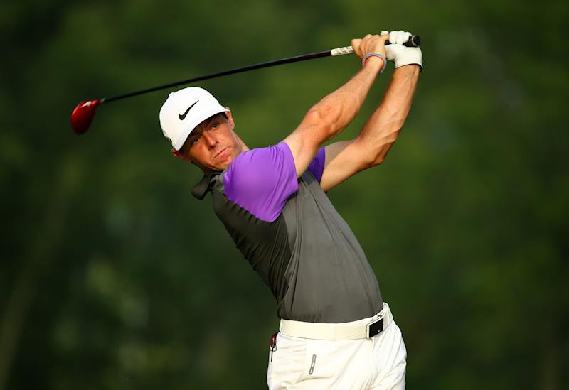 Rory McIlroy hits his tee shot during the 96th PGA Championship on August 10, 2014 in Louisville, Kentucky