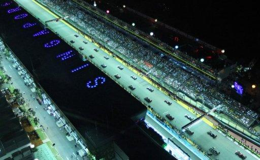 This file photo shows an overview of the starting grid of the Formula One Singapore Grand Prix, pictured in September 2011. Singapore's stock exchange has given the green light for an initial public offering of Formula One shares worth more than US$2.5 billion, Dow Jones Newswires reported on Tuesday