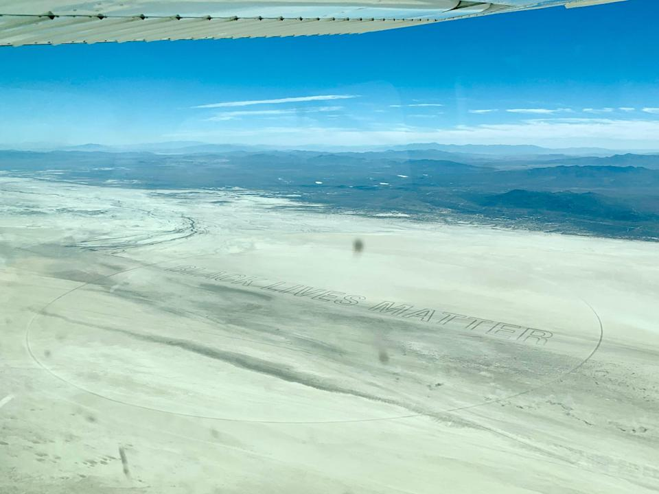"""A pilot, Nick Howard, discovered the message """"Black Lives Matter"""" written into the surface of the Black Rock Desert playa on July 10, 2020."""