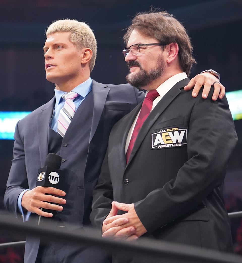 """Cody Rhodes and Tony Schiavone are seen as Rhodes announces a stipulation for his match against Chris Jericho at """"Full Gear."""" (Photo Credit: All Elite Wrestling)"""