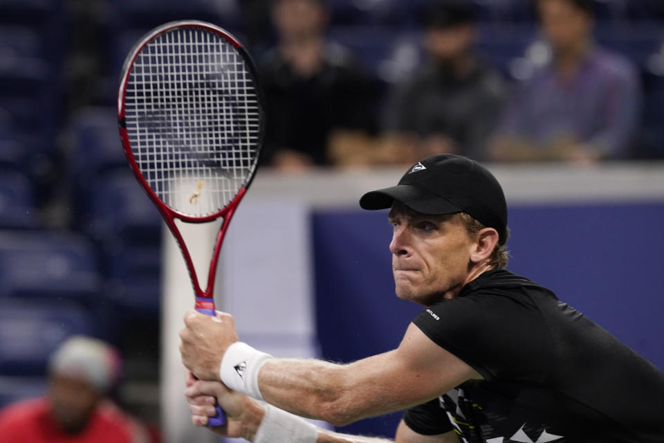 Kevin Anderson, of South Africa, returns a shot against Diego Schwartzman, of Argentina, during the second round of the US Open tennis championships, Wednesday, Sept. 1, 2021, in New York. (AP Photo/Frank Franklin II)