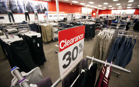 A sale sign is seen inside a Target store in Delta, British Columbia