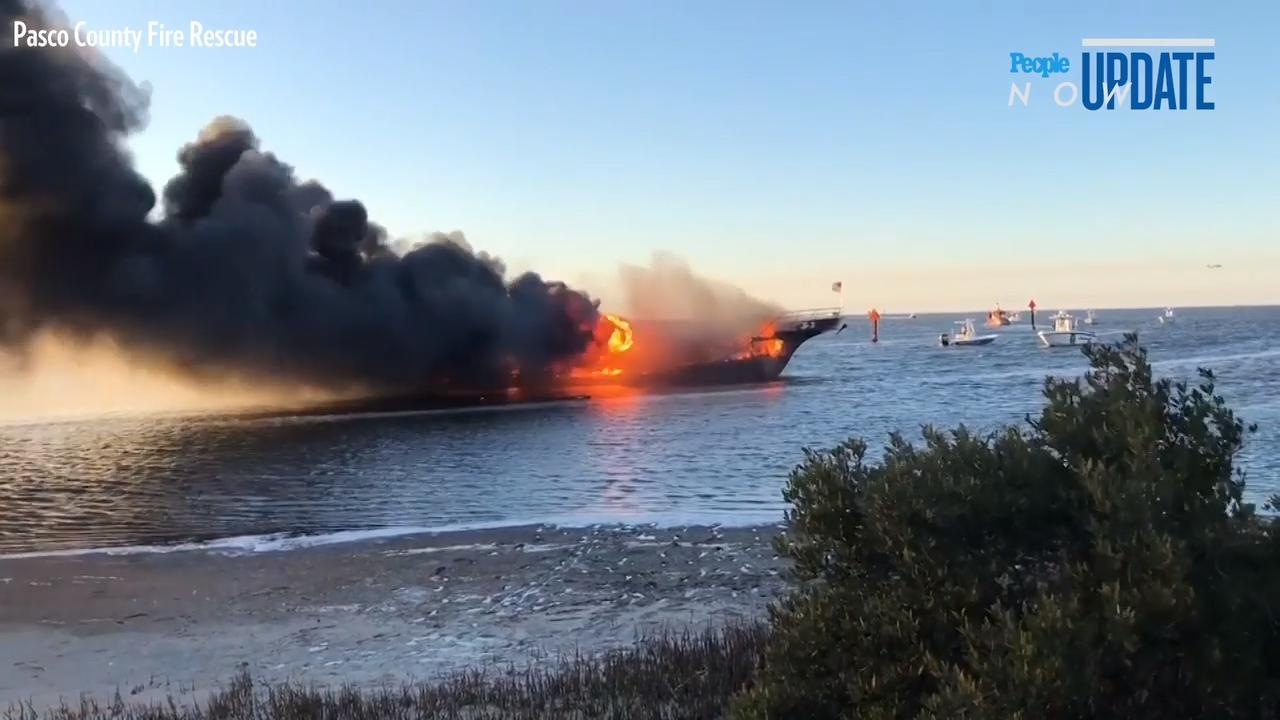 A casino shuttle boat carrying around 50 passengers caught fire in the Gulf of Mexico, authorities said Sunday, killing a 42-year-old woman and leaving others with minor injuries