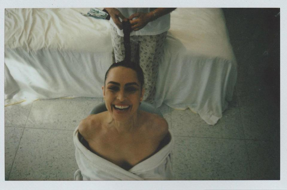 """""""I always bring various options with me,"""" she admits of experimenting with McIntosh for red carpet hairpieces. """"I'll start putting in a hairpiece and we'll decide if we want to do a braid, or if we'll do it loose, or put it up. We're quite organic, but we both think very similar thoughts and visions and it just comes together."""""""