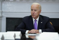 President Joe Biden speaks during a meeting with FEMA Administrator Deanne Criswell and Homeland Security Adviser and Deputy National Security Adviser Elizabeth Sherwood-Randall, in the Roosevelt Room of the White House, Tuesday, June 22, 2021, in Washington. (AP Photo/Evan Vucci)