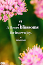 <p>A flower blossoms for its own joy.</p>