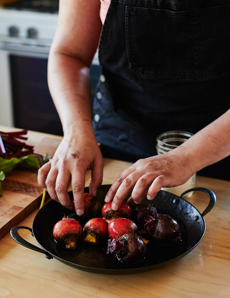 How Nosrat roasts beets: In a cast-iron skillet with a little water and covered in foil so they steam while they cook.