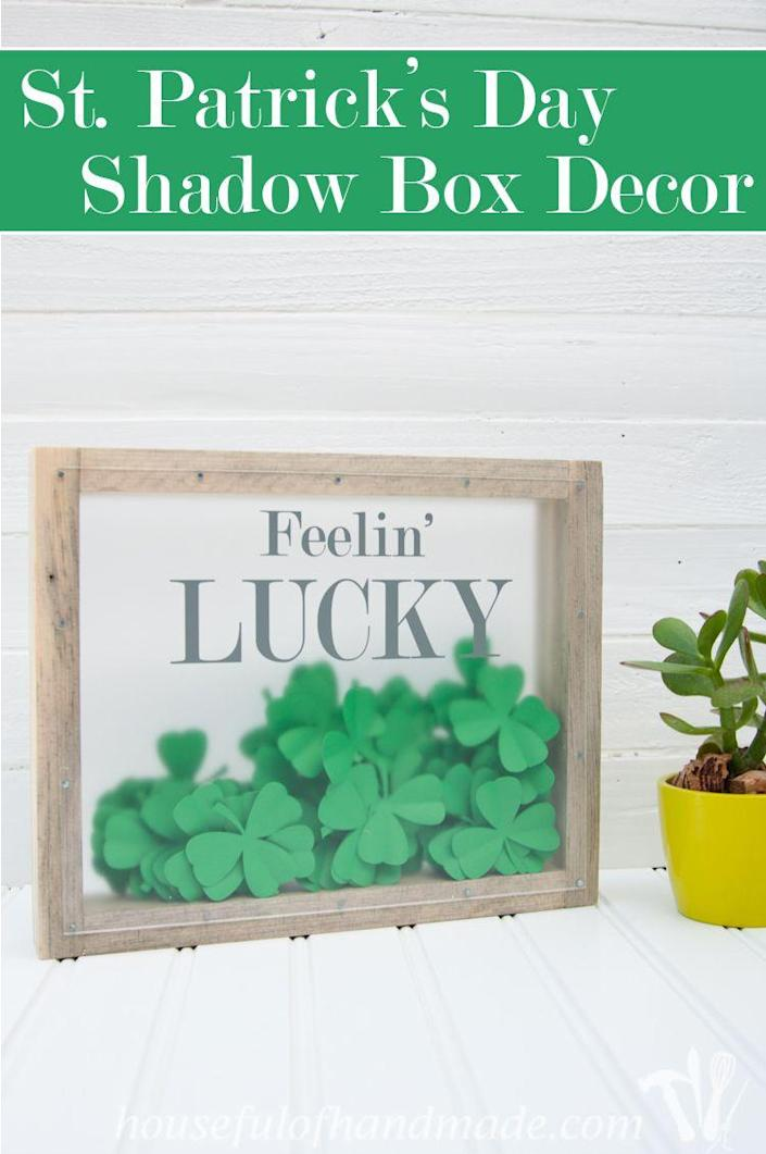 """<p>Give your Paddy's Day decorations 3D appeal with this inventive shadow box, chock-full of card stock clovers. Hint: If you make just one clover four leaf and the rest three leaf, the shadow box becomes a fun """"find it"""" game for the whole family.</p><p><strong>Get the tutorial at <a href=""""https://www.ohmy-creative.com/holiday-crafts/st-patricks-day/st-patricks-day-shadow-box/"""" rel=""""nofollow noopener"""" target=""""_blank"""" data-ylk=""""slk:OH MY! Creative"""" class=""""link rapid-noclick-resp"""">OH MY! Creative</a>.</strong></p><p><strong><a class=""""link rapid-noclick-resp"""" href=""""https://go.redirectingat.com?id=74968X1596630&url=https%3A%2F%2Fwww.walmart.com%2Fsearch%2F%3Fquery%3DPOLYSTYRENE%2BSHEETS&sref=https%3A%2F%2Fwww.thepioneerwoman.com%2Fhome-lifestyle%2Fcrafts-diy%2Fg34931626%2Fst-patricks-day-decorations%2F"""" rel=""""nofollow noopener"""" target=""""_blank"""" data-ylk=""""slk:SHOP POLYSTYRENE SHEETS"""">SHOP POLYSTYRENE SHEETS</a><br></strong></p>"""