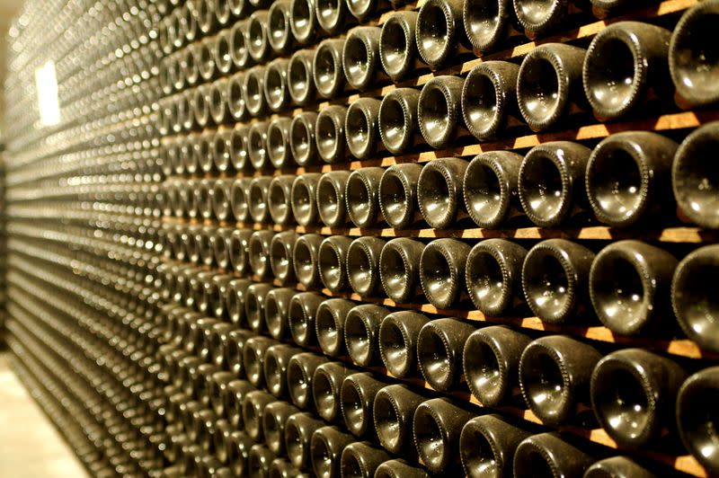 FILE PHOTO: Prosecco wine bottles are seen in a cellar in northern Italy
