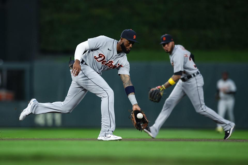 Niko Goodrum of the Detroit Tigers fields a ball hit by Mitch Garver of the Minnesota Twins in the first inning at Target Field on September 30, 2021 in Minneapolis.