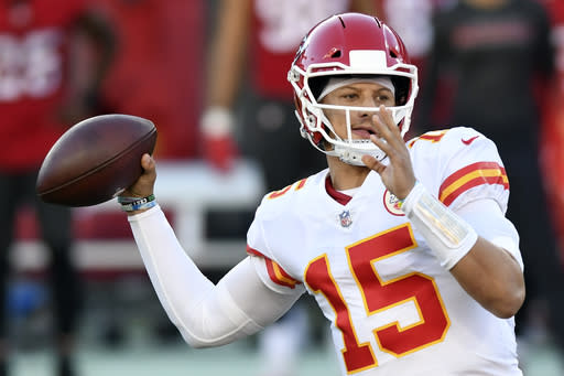 Kansas City Chiefs quarterback Patrick Mahomes (15) throws a pass against the Tampa Bay Buccaneers during the first half of an NFL football game Sunday, Nov. 29, 2020, in Tampa, Fla. (AP Photo/Jason Behnken)