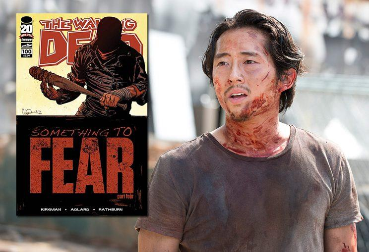 The Walking Dead issu #100 and Steven Yeun as Glenn on AMC's The Walking Dead. (Photo Credit: Image Comics/AMC)
