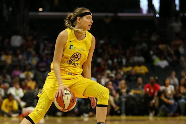 Los Angeles Sparks guard Sydney Wiese said she tested positive for coronavirus. (Jevone Moore/Icon Sportswire via Getty Images)