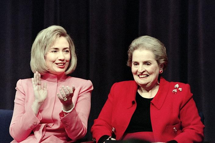 Madeleine Albright says she often attended events with then-first lady Hillary Clinton. Albright believes Clinton influenced her husband's decision to name Albright to the State Department.