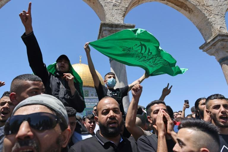 Worshippers chant pro-Hamas slogans at Jerusalem's flashpoint Al-Aqsa mosque. The Islamist movement aims to become the de facto standard bearer of the Palestinian cause, capitalising on the fading leadership of the Palestinian Authority