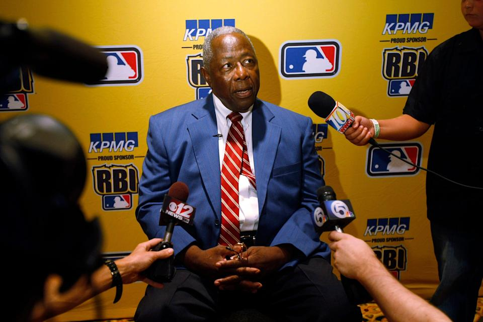 Hank Aaron discusses baseball today during an interview in Palm Beach Gardens, Fla., Tuesday, Aug. 4, 2009, before he spoke to the RBI World Series banquet. Aaron expressed his belief that all players who have used performance enhancement drugs be named and that the issue laid to rest.