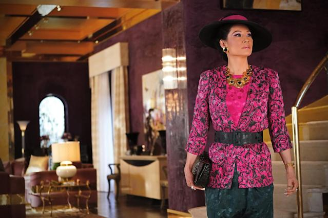 Lucy Liu plays 80s socialite Simone in the new CBS All Access series, Why Women Kill (Photo: CBS All Access)