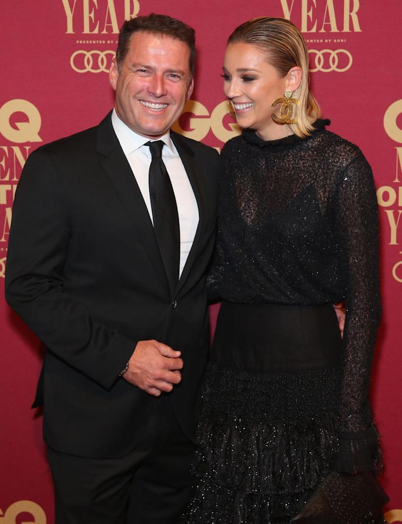 Karl Stefanovic has addressed rumours he and Jasmine Yarbrough are engaged - the pair pictured at the GQ Men Of The Year Awards at The Star on November 15, 2017 in Sydney, Australia. Source: Getty