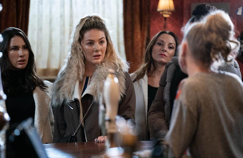 Shelley (MARIA LOUIS), Linda Carter (KELLIE BRIGHT) - (C) BBC - Photographer: Kieron McCarron/Jack Barnes